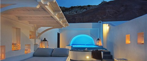Cave Pool Suite with private cave pool indoor couples Jacuzzi and private panoramic terrace with sea/volcano/caldera views