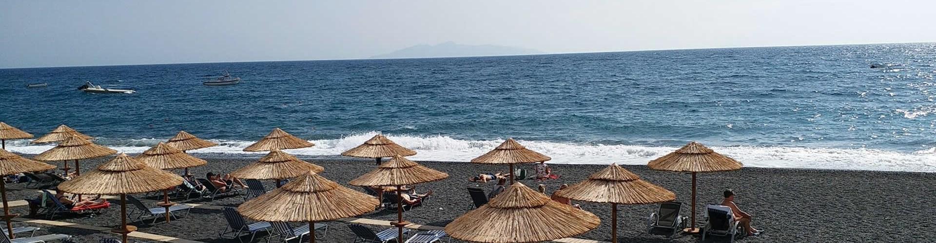 The Black Sand Beach In Santorini Santorini View