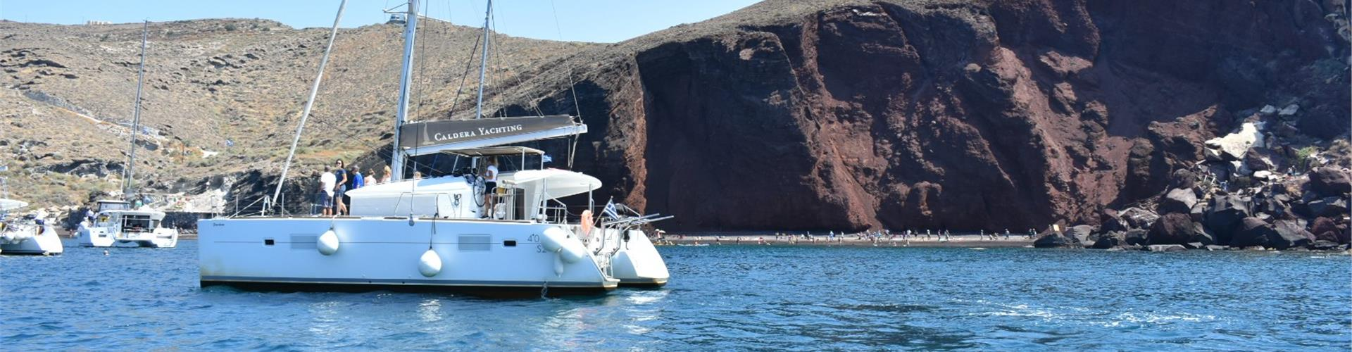 Photo of Private Catamaran Cruise in Santorini with meal and drinks