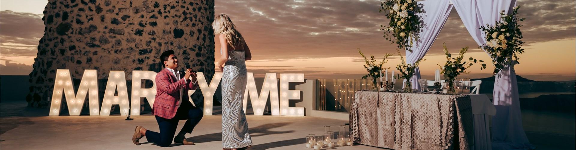 Photo of Surprise Wedding Proposal Photography in Santorini
