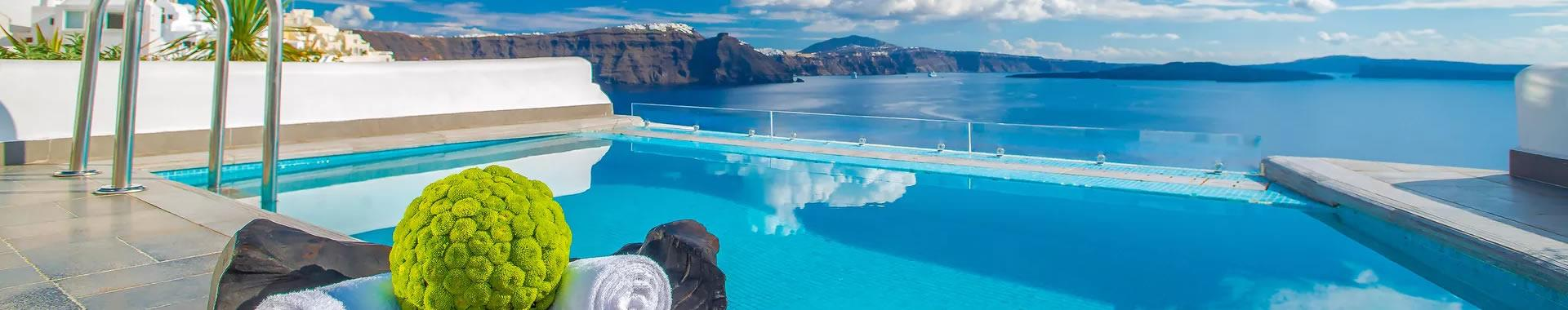 Firostefani or Perissa Santorini Hotels with Swimming Pools
