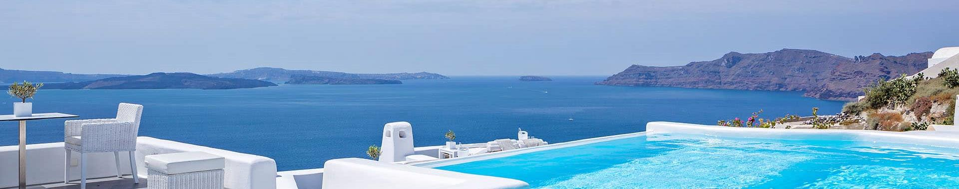 Kamari or Perivolos Santorini Hotels with Infinity Pool